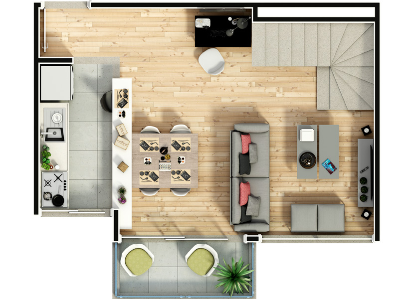 Duplex 94m² - Pavimento Inferior - Notting Hill